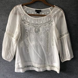 THEORY silk/cotton embroidered white blouse size s